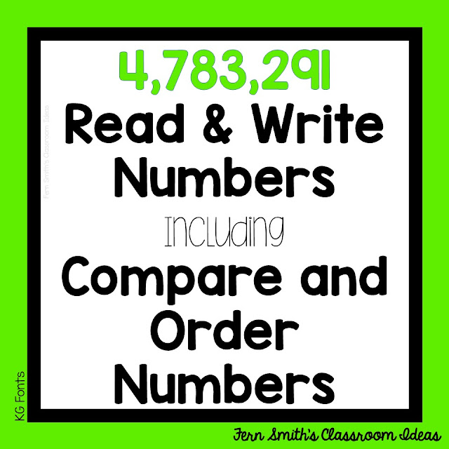 Fourth Grade Math usually starts with an introduction of Place Value, Addition, and Subtraction to One Million. YOur students need to be able to understand place value for multi-digit numbers. It's an excellent review to see if your students are ready to tackle manipulation of seven and eight digit numbers. Pin this post for lesson plans, task cards and center games. #FernSmithsClassroomIdeas
