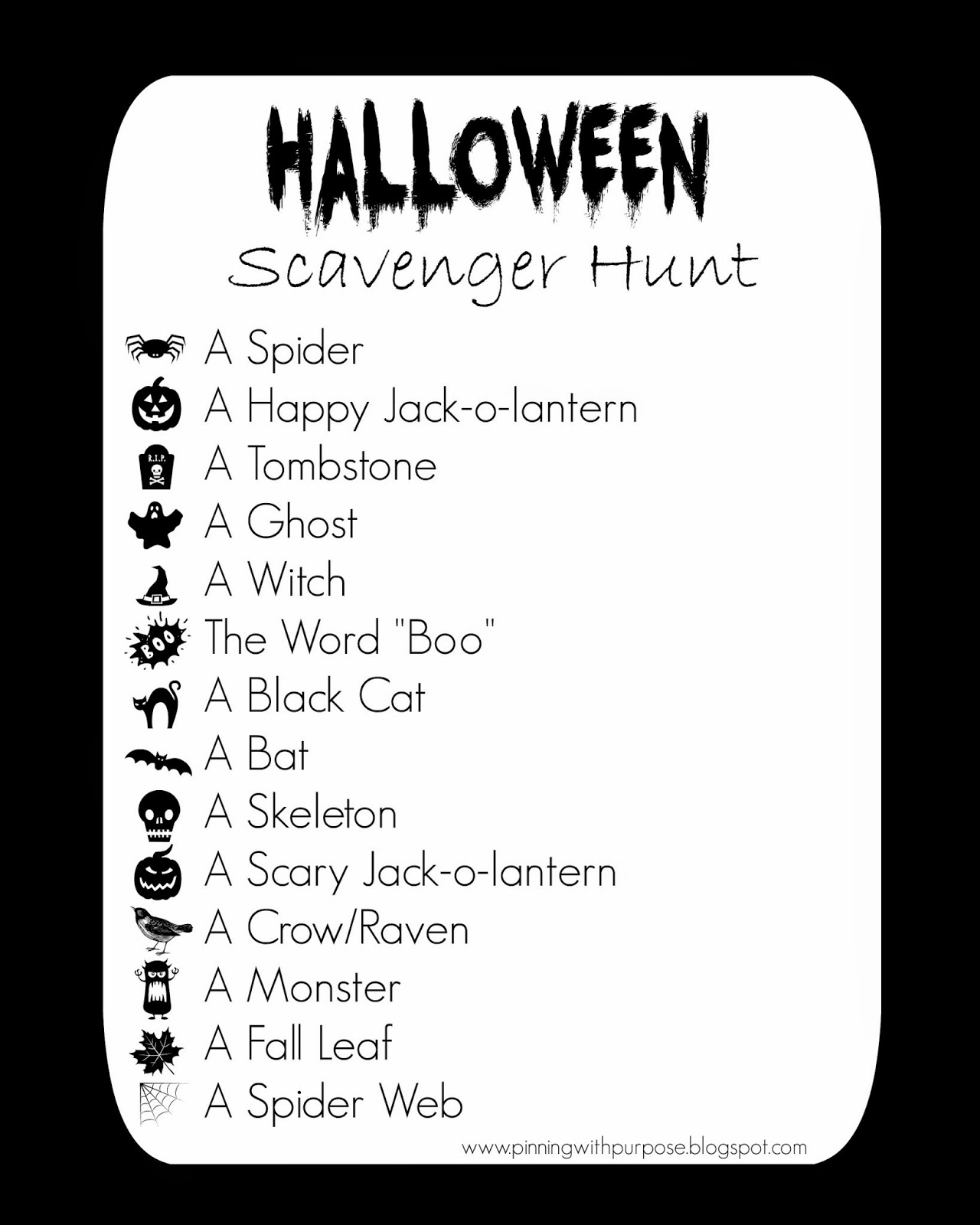 Pinning With Purpose Neighborhood Halloween Scavenger Hunt