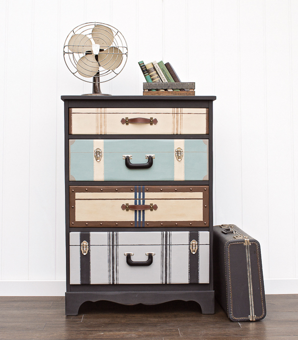 dresser with drawers that look like suitcases