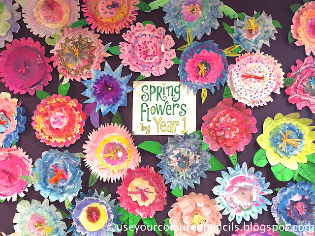 Use Your Coloured Pencils: Paper Plate Flower Collages