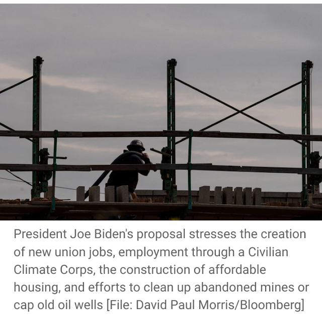 Biden says his sweeping infrastructure proposal would create 19 million jobs to boost US Economy