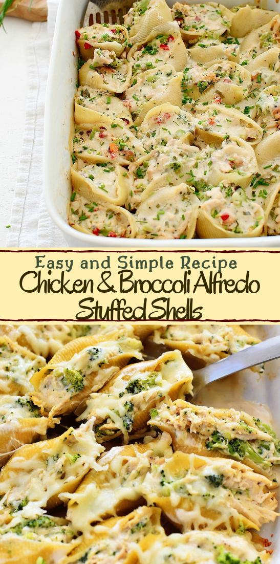 Chicken & Broccoli Alfredo Stuffed Shells #dinnerrecipe #food #amazingrecipe #easyrecipe