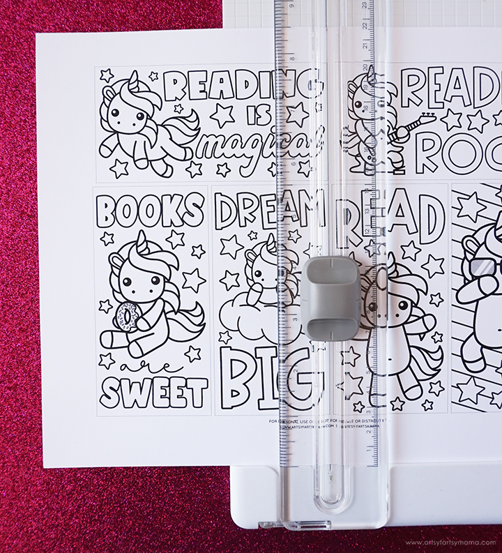 Free Printable Unicorn Coloring Bookmarks with Paper Cutter