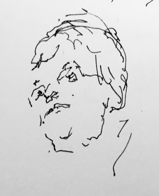 Pen and ink drawing of woman's face from below.