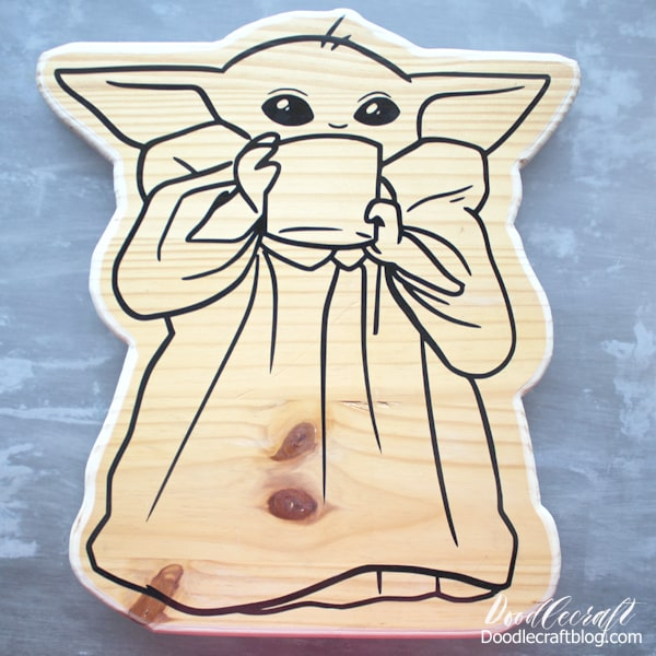 Vinyl and wood Baby Yoda, just needs paint.