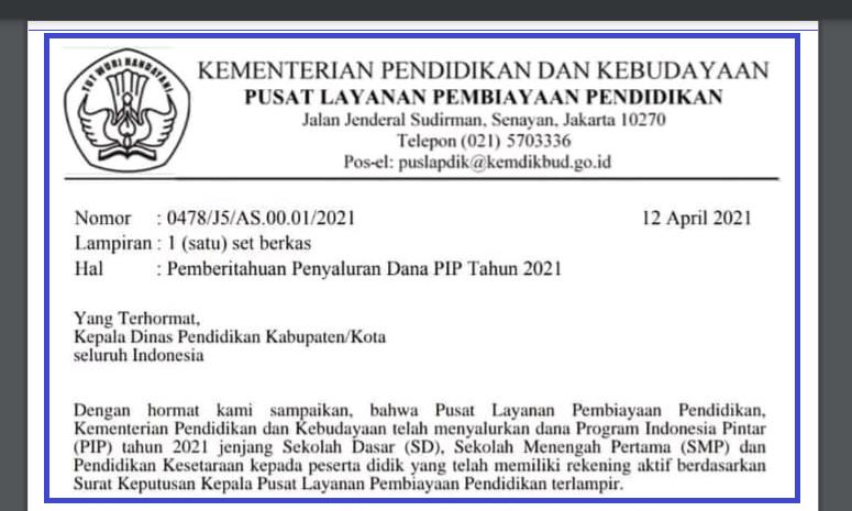 gambar surat Pemberitahuan Penyaluran Dana P1P Tahun 2021