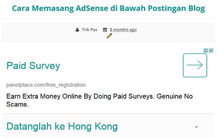 Cara Memasang AdSense di Bawah Postingan Blog