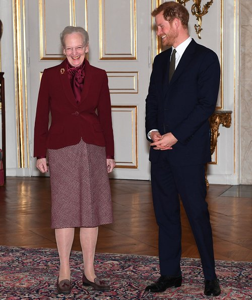 Queen Margrethe meets with Prince Harry at the Amalienborg Palace. Prince William and Duchess of Cambridge