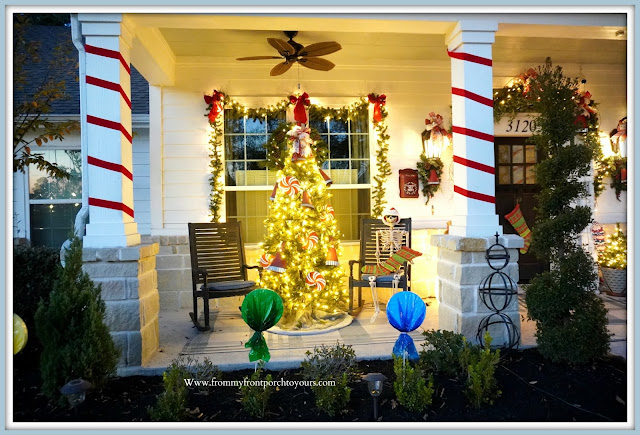 Cottage -Farmhouse -Christmas- Porch-Wrapped-Columns-Ribbon-Christmas-Tree- -From My Front Porch To Yours