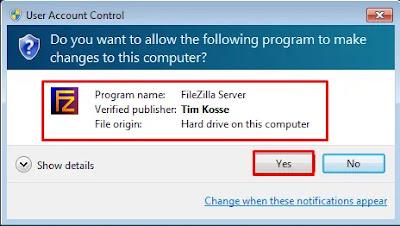 Proses Installasi FileZilla Server