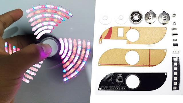 تركيب سبينر بمصابيح ليد ملونة من الصفر - DIY Full Color Rotating POV LED Hand Spinner Electronic kit