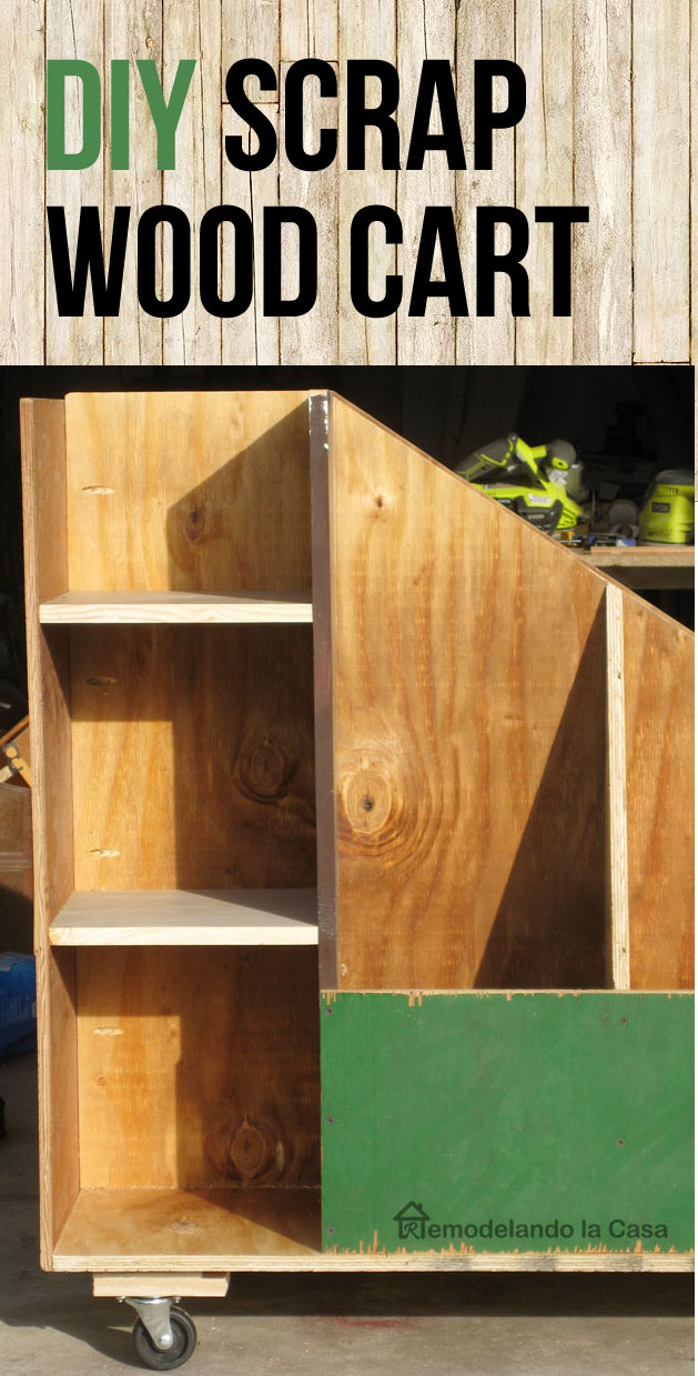 how to build a wooden rolling cart to store your scrap pieces of wood.'