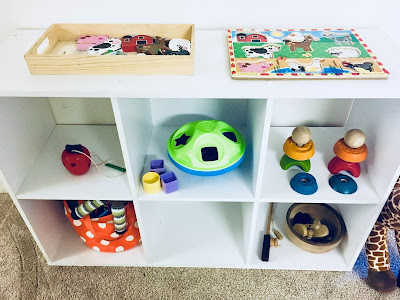 Montessori Toddler Shelf with toys for toddler and infant