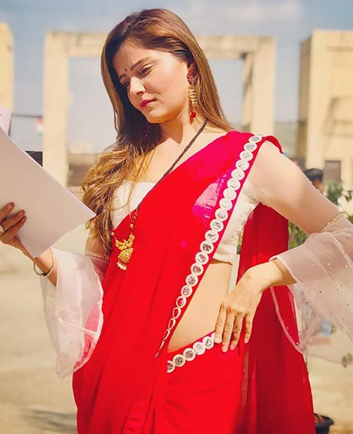 Rubina Dilaik in red saree Indian tv actress shakti astitva ke ehsaas ki