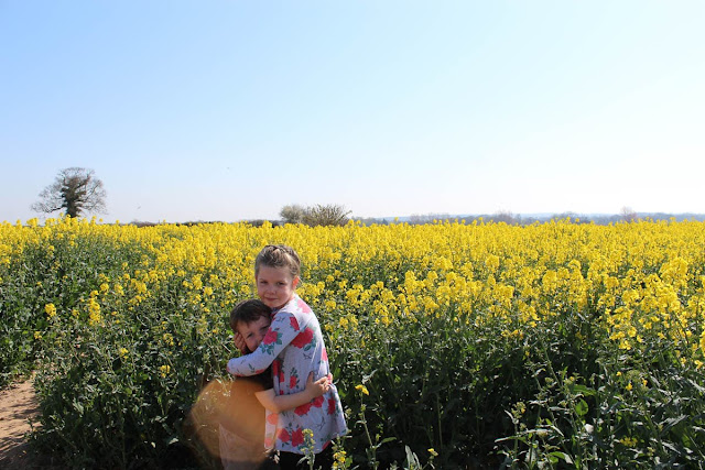 a brother and sister standing in front of a yellow rapeseed field