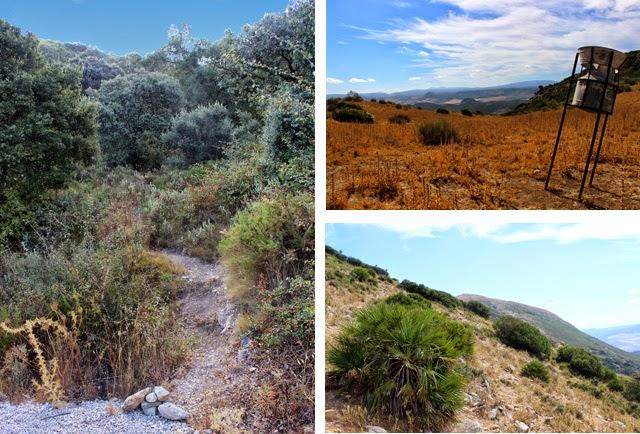 A la izquierda, inicio de la senda; a la derecha, el pluviómetro y el sendero que flanquea las cumbres previas
