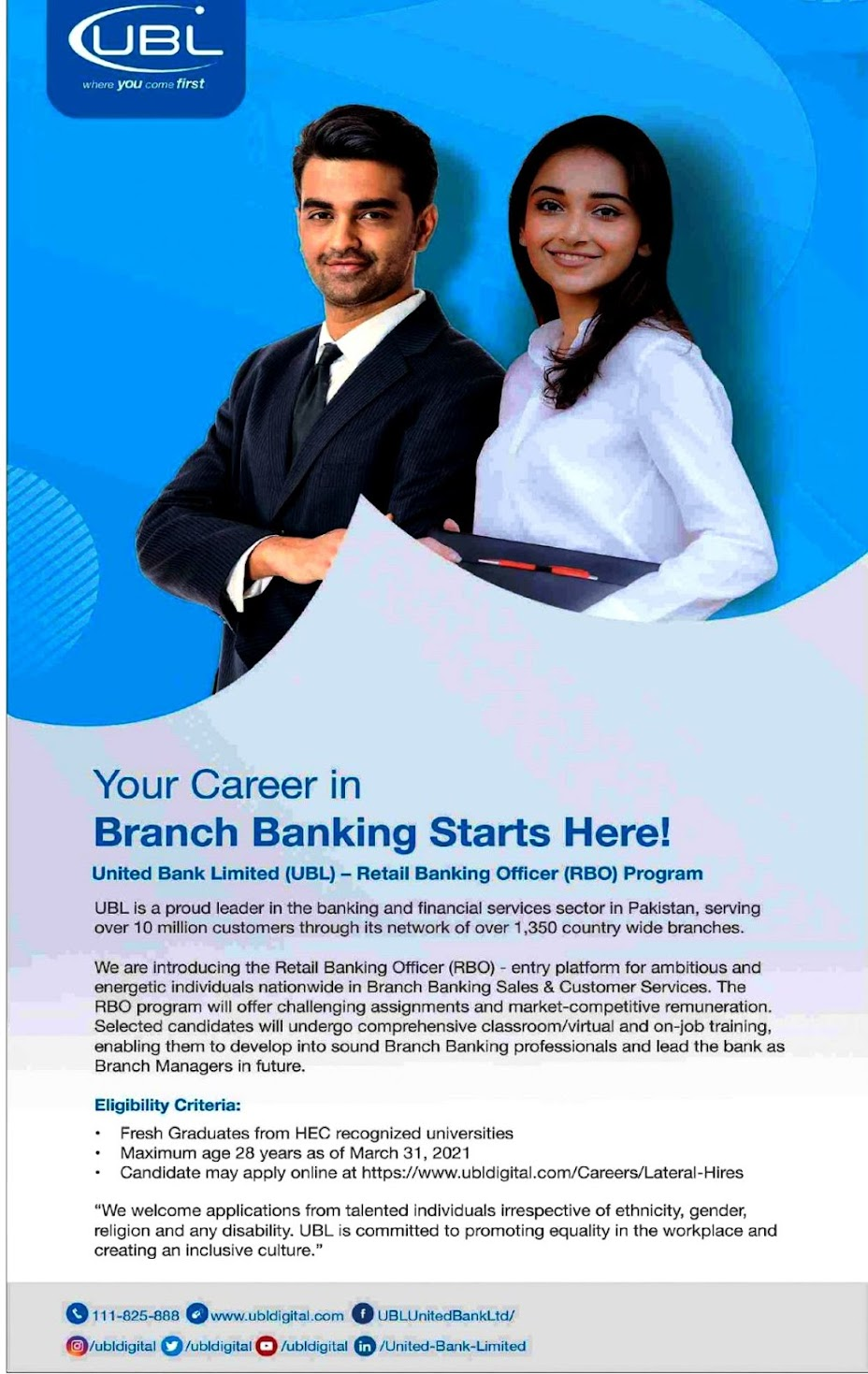 Latest Jobs in  United Bank Limited UBL 2021