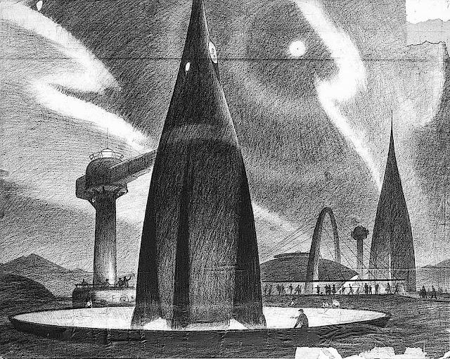 a Bruce Bushman 1950s Disney theme park concept illustration