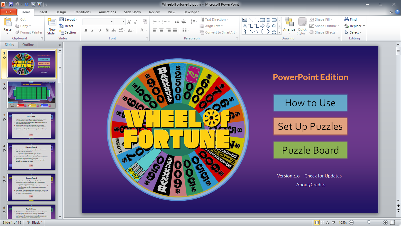 tim's slideshow games: wheel of fortune for powerpoint - more info, Powerpoint templates