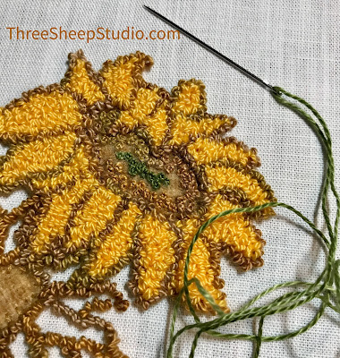 'Simply Sunflowers' punch needle by Rose Clay at ThreeSheepStudio.com in 'Studio'