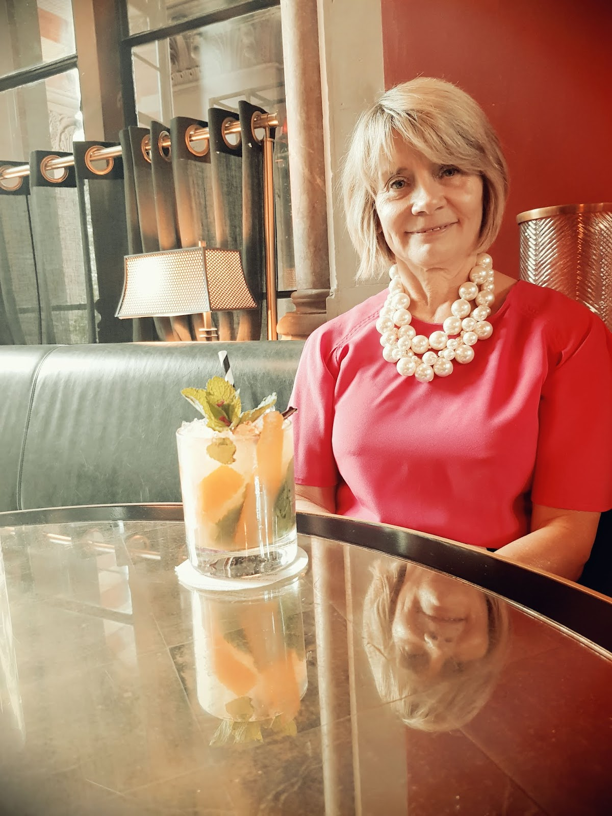 Is This Mutton blogger Gail Hanlon and cocktail at the bar at the Gilbert Scott in London