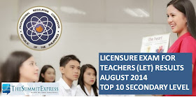 Top 10 LET August 2014 Secondary