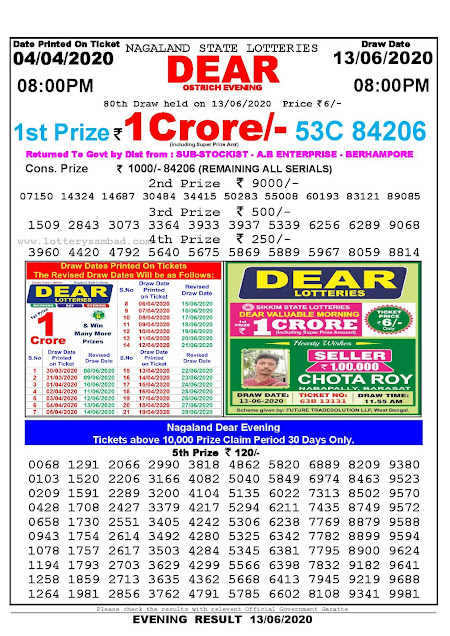 Nagaland State Lottery Sambad 04-04-2020 Today Result 8 PM