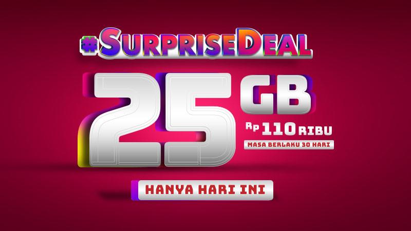 Telkomsel - Paket SurpriseDeal 25G Cuma 110 Ribu & Via Aplikasi 100 Ribu (HARI INI SAJA)
