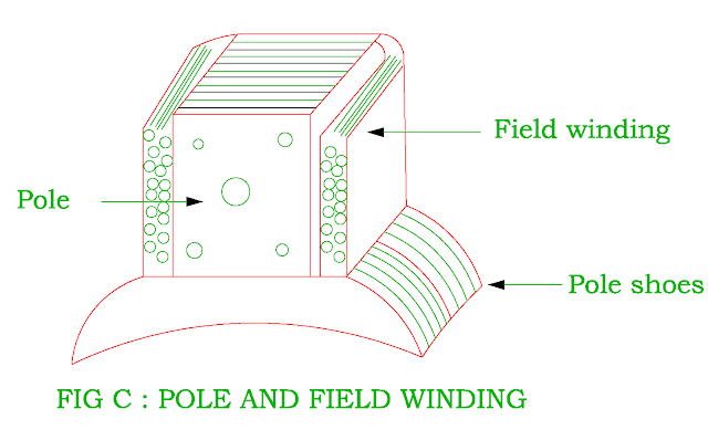 pole and field winding