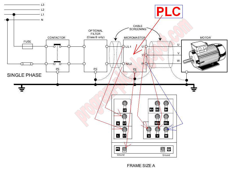 inverter Power motor plc connections motor inverter wiring diagram micromaster 440 wiring diagram at bakdesigns.co