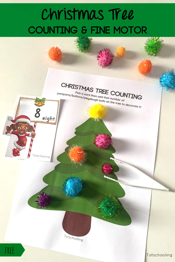 FREE printable Christmas tree counting and fine motor activity for toddlers and preschool kids. Use pom poms or other small objects.