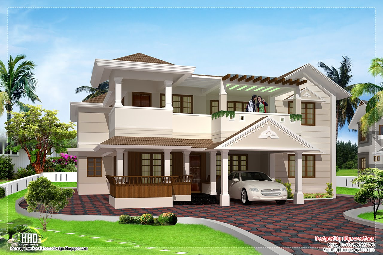 3200 two floor house design kerala home design for Two floor house plans in kerala