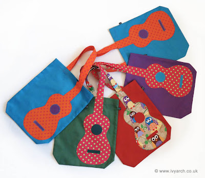 ukulele book bags with polka dots and owls