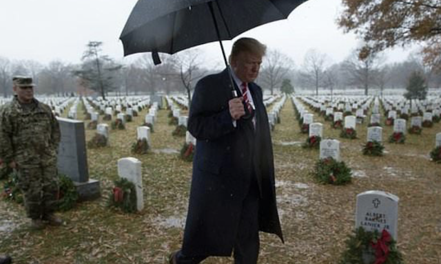Trump, criticized for skipping earlier visits, travels to cemetery
