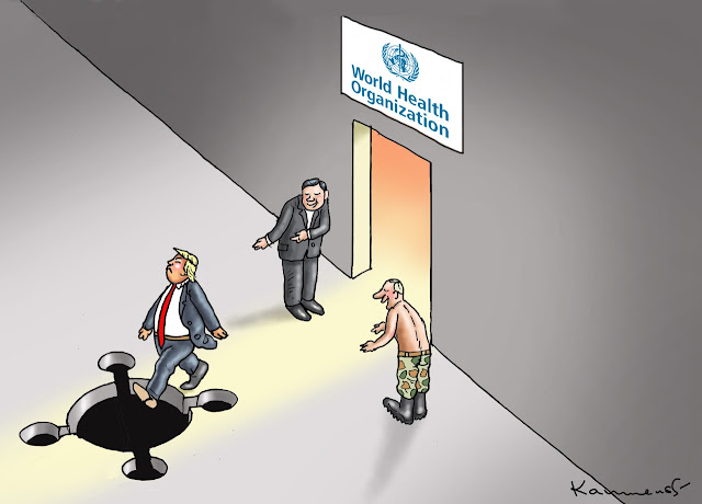 Donald Trump exiting the WHO towards a hole in his path shaped like a coronavirus.