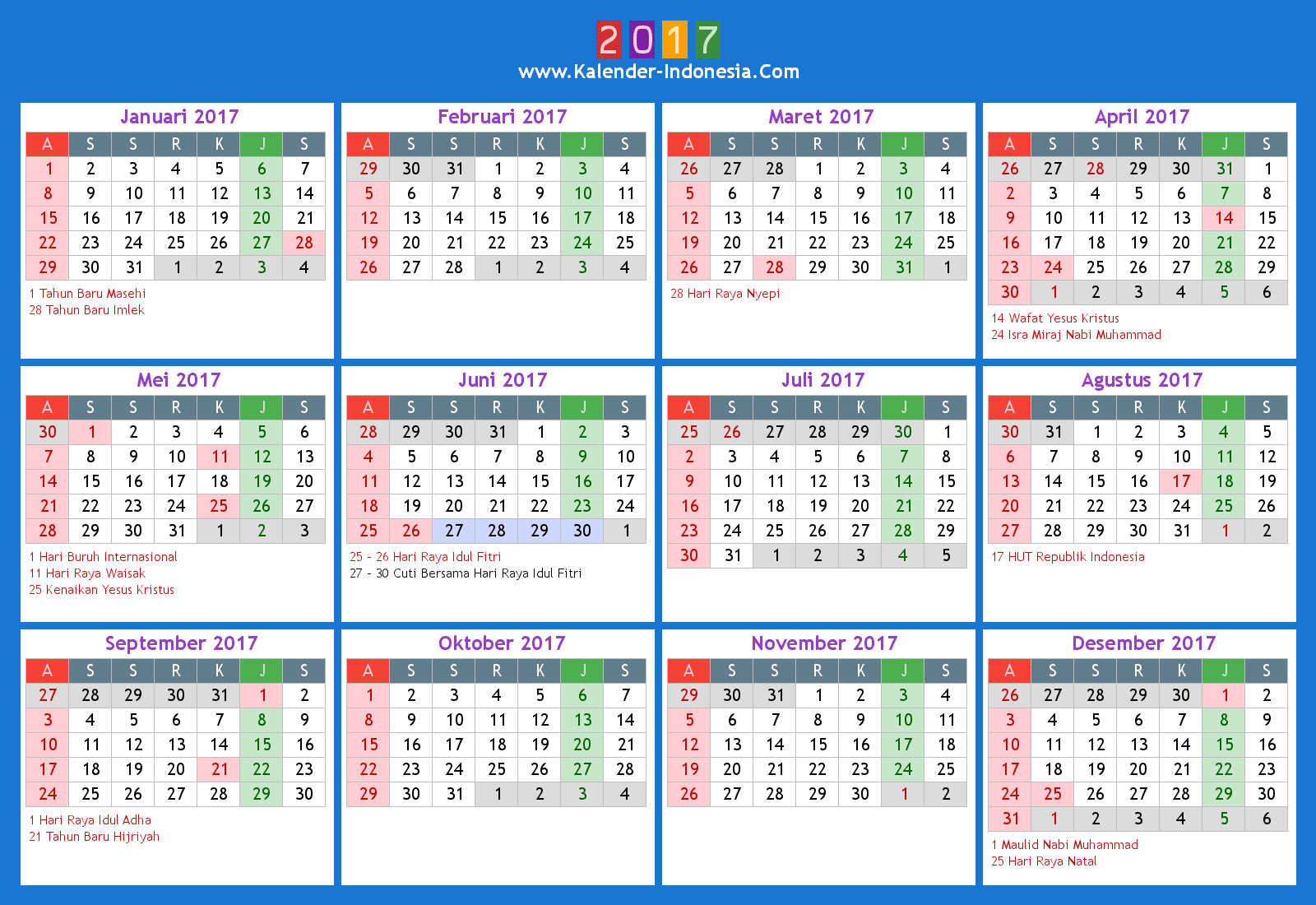 Calendar 2017 Indonesia Cdr