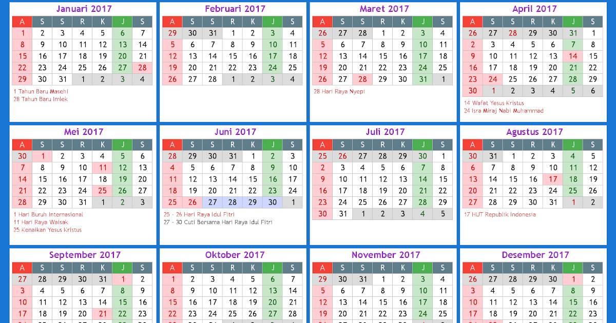 Kalender 2017 Libur