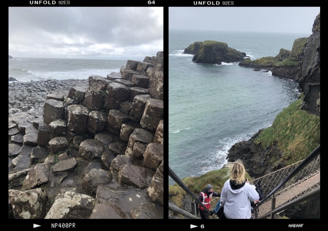 A collage of two photos. Photo one of the interlocking basalt columns and photo two is of sea next to carrick-a-rede rope bridge