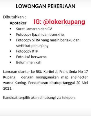 Lowongan Kerja RSU Kartini Kupang Sebagai Apoteker
