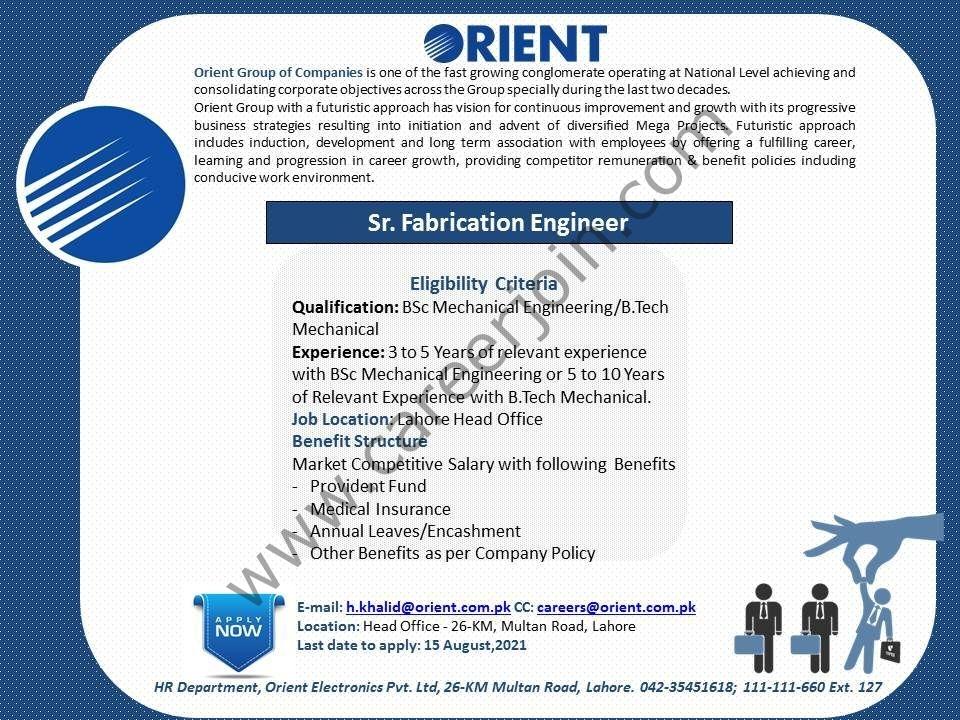 Orient Group of Companies Jobs Sr Fabrication Engineer