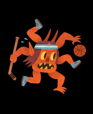 Ilustração de Um Livro Infantil dos Demônios, contendo uma entidade com três pernas e três braços, segurando um taco de hockey e uma bola de basquete, representado algo relacionado à esportes.