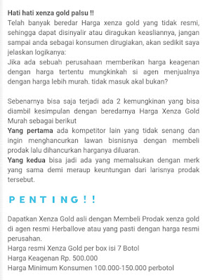 Awas Xenza Gold Palsu Cek Dengan Harga Resmi Herballove