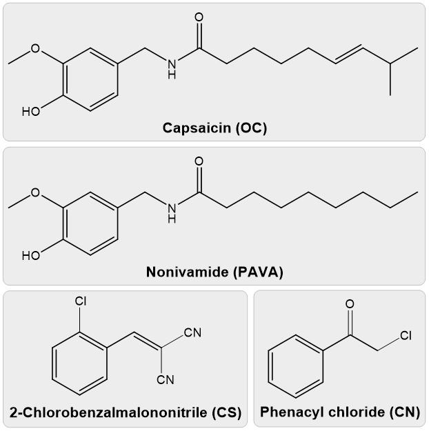 Chemical formulas for tear gas compounds