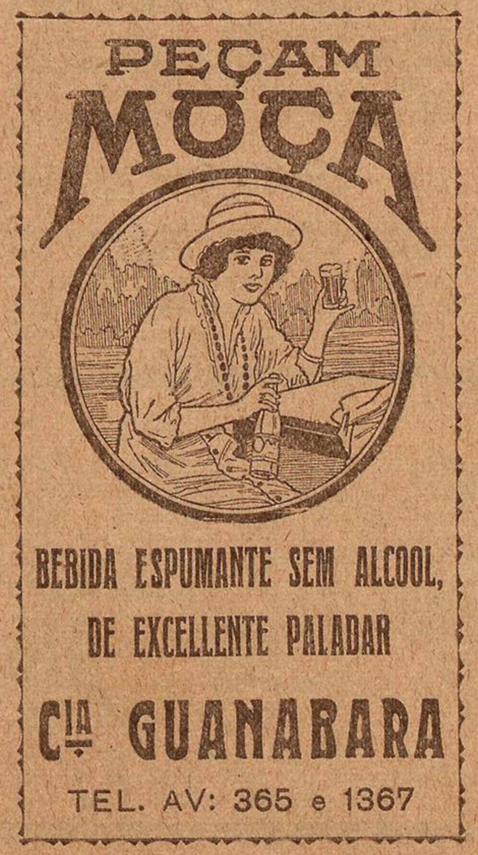 Propaganda antiga da bebida espumante Moça veiculada em 1923