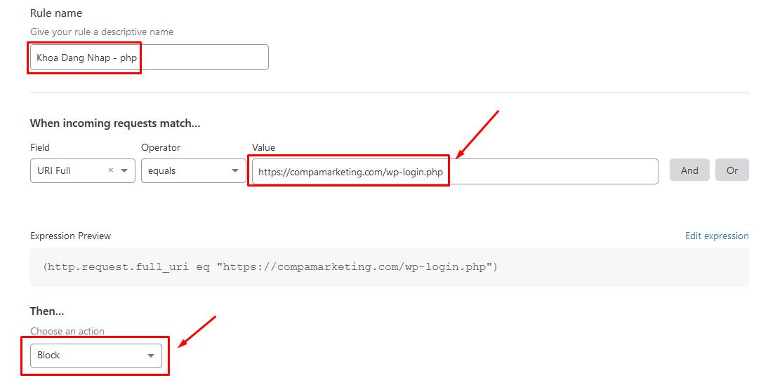 Khóa đăng nhập vào file wp-login.php