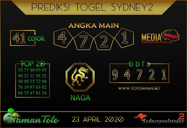 Prediksi Togel SYDNEY 2 TAMAN TOTO 23 APRIL 2020