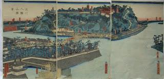 五雲亭貞秀 淀川八幡山勝景の浮世絵版画販売買取ぎゃらりーおおの