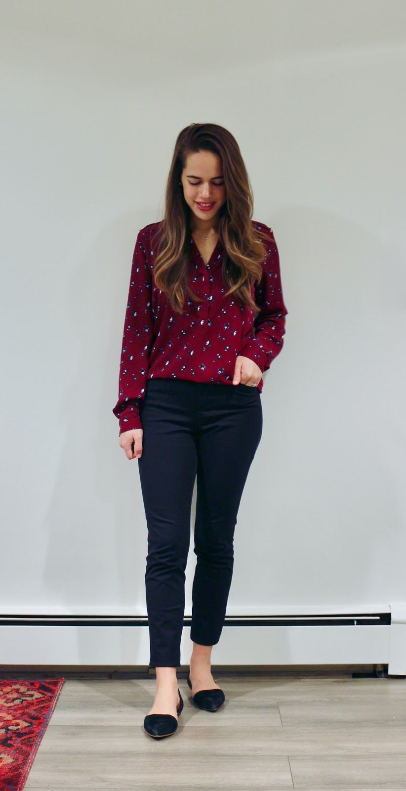 Jules in Flats - Burgundy Blouse with Skinny Ankle Pants (Business Casual Winter Workwear on a Budget)