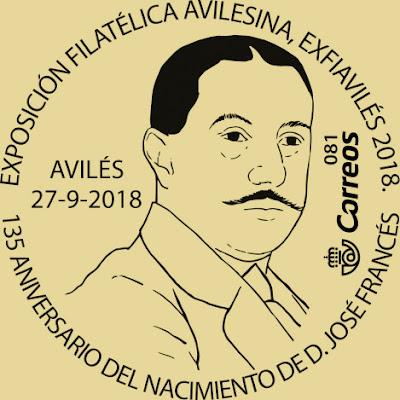 Matasellos dedicado a José Francés en Exfiaviles 2018