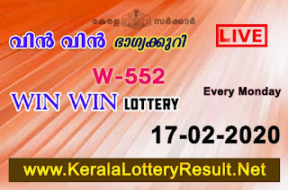 LIVE: Kerala Lottery Result 17-02-2020 Win Win W-552 Lottery Result